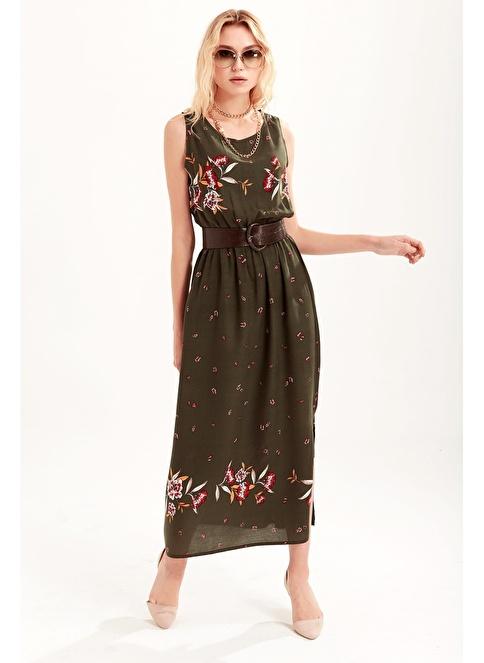 7d229f3fb0f7b Ola Kadın Beli Lastikli Uzun Elbise Yeşil | Morhipo | 19379731